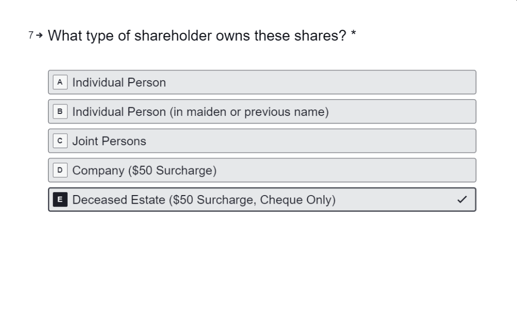 Sell Shares Held by Deceased Estate